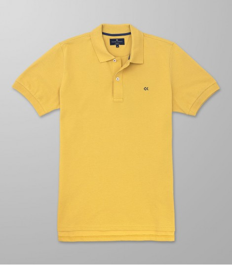 Polo Κοντό Μανίκι Regular Fit Κίτρινο
