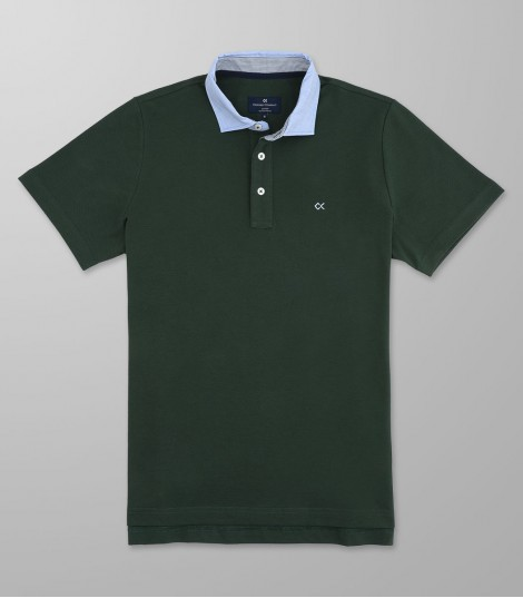 Polo Κοντό Μανίκι Regular Fit Σκούρο Πράσινο