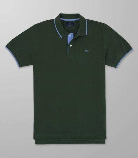 Polo Κοντό Μανίκι Regular Fit Πράσινο Σκούρο